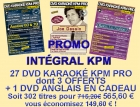 PROMO 27 DVD KARAOKE KPM PRO 'L'INTEGRALE'' AU PRIX DE 24 + 1 DVD ANGLAIS EN CADEAU
