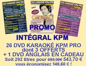 PROMO 26 DVD KARAOKE KPM PRO 'L'INTEGRALE'' AU PRIX DE 23 + 1 DVD ANGLAIS EN CADEAU