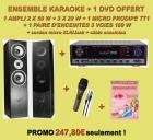 ENSEMBLE KARAOKE AMPLI/ENCEINTES/MICRO + 1 DVD KARAOKE MANIA OFFERT